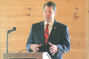 <p>Brian Kemp speaks to the Rockmart Rotary Club on Tuesday, June 25.</p>