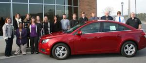 <p>The GOAL nominees for GNTC stand with the 2015 Chevy Cruise that will be awarded by Chevrolet to the State GOAL winner. Pictured are:</p><p>Front Row (from left to right) Mary Fran Lucas, Maria Williams, and Alice Towe.</p><p>Back Row (from left to right) Tara Glenn, Rachel Hancock, Jessica Staney, Jennifer Lively, Heather Shirley, Brent Freeman, Christopher Collins, Zachary Joslyn, McLane Hicks, Dennis Sammons, Dylan Thoreson, and Chevrolet Representative Damon Skates, sales manager at Jackson Chevrolet Buick GMC in LaFayette.</p><p>Nominees not pictured are: Chasity Baugh, Tracy Mobley, Tayla Smith, and Hannah White.</p>