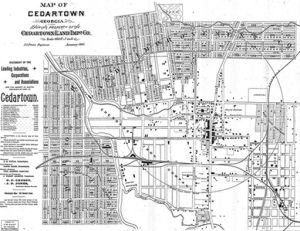 <p>Map shows Cedartown during the 1880s.</p>
