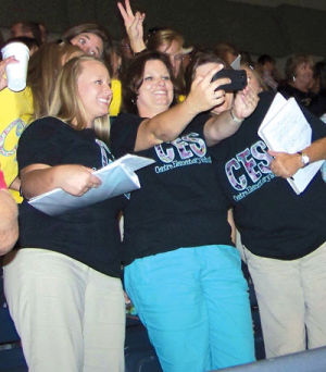 """<p>Dr. Thomas Bice, superintendent of education for Alabama, recently challenged teachers to check their technology knowledge to stay one step ahead of students. Pictured are teachers taking """"selfies"""" during the program held at Gadsden State. They were challenged to take pictures and then post the pictures.</p>"""