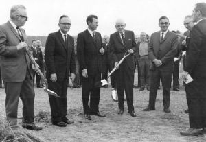 <p>From left, Bob Rutland, unidentified, Gov. Carl Sanders, George Rice Sr., unidentified, Lamar Westcott and Truett Lomax participate in a groundbreaking ceremony for Dalton Junior College in the 1960s. Photo courtesy of Whitfield-Murray Historical Society.</p>