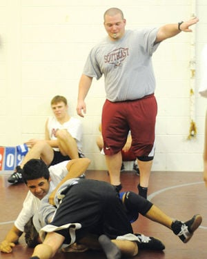 <p>Michael Herndon coaches during a practice last season at Southeast Whitfield. Herndon was the head coach there for three years. (Contributed Photo, The Daily Citizen)</p>