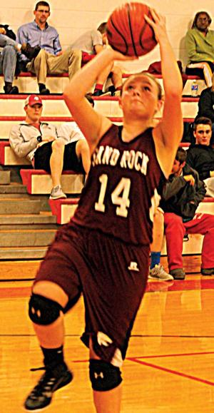 <p>Sand Rock's Shelley Sonaty goes in for a layup against Cedar Bluff on Tuesday. Photo by Shannon Fagan.</p>