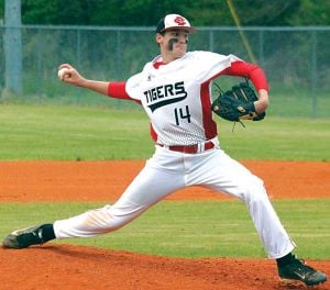 <p>Cedar Bluff's Keaton Kilgro fires a pitch to a Woodville batter Friday during game one of their first-round Class 1A baseball playoff series. Photo by Shannon Fagan.</p>