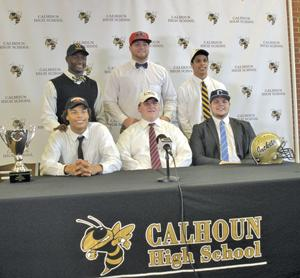<p>Calhoun High signees (clockwise, from top left) Jireh Wilson (Wofford), Jack DeFoor (Ole Miss), Kolby Reynolds (Mississippi College), Drew McEntyre (The Citadel), Austin Stout (West Georgia) and Kaelan Riley (Mercer) pose for a photo Wednesday. (Alex Farrer, CalhounTimes.com)</p>