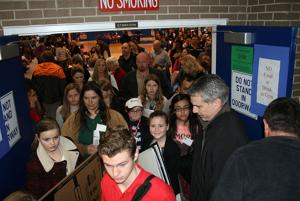 <p>Students pour out of the opening assembly at the 4-H District Project Achivement competition at Georgia Highlands College in Rome Saturday. Over 800 students made brief speeches about something they are fascinated with, from sheep to photography, geology to American Sign Language. (Doug Walker, RN-T)</p>