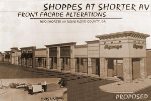 <p>Plans submitted to the Rome Floyd Building Inspection department show proposed changes to the retail property at 1600 Shorter Avenue. The property is now owned by UA Investments LLC. (Graphic Contributed, KSi Design Group)</p>