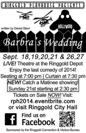 "Tickets on sale for ""Barbra's Wedding"" opening Sept. 18 at Ringgold Playhouse"