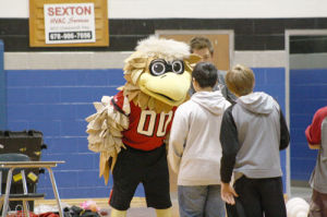 Freddie the Falcon pumps up students for CRCT