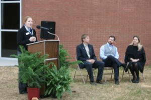 <p>Development Authority of Polk County president Rachel Rowell speaks at the spec building ribbon cutting ceremony on Wednesday, Nov. 12.</p>