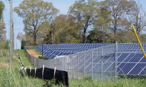 <p>This solar farm in Aragon was developed by Inman Solar out of Atlanta. The array sits on the east side of Ga. 101. (Doug Walker, RN-T)</p>