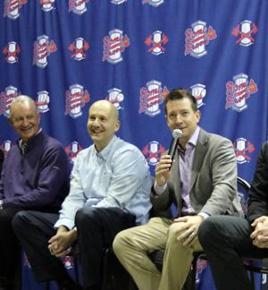<p>Atlanta Braves President of Baseball Operations John Hart (from left) and General Manager John Coppolella laugh as Jonathan Schuerholz, assistant director of player development, answers a question during the Rome Braves Hot Stove Gathering on Saturday, Jan. 28, 2017, at the Forum River Center. (Jeremy Stewart/RN-T.com)</p>