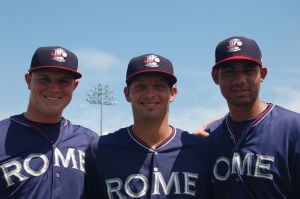 <p>Before Monday's game the team named its award winners. Jake Schrader (from left) was named top offensive player; Ross Wilson, top defensive player; and Yean Carlos Gil, top pitcher. (Contributed photo)</p>