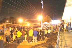 <p>Crowds gather late into the evening to enjoy the redesigned Ringgold Haunted Depot.</p>