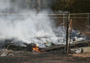Fire destroys shed in Armuchee