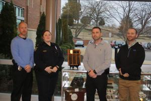 <p>Cartersville Police Chief Frank McCann recognized several employees with 2015 end-of-year awards: (from left) Supervisor of the Year, Lt. Richard P. Hawley, commander of the Criminal Investigations Unit; Supervisor of the Quarter, Lt. Sarah Ellington, shift commander; Officer of the Year, investigator Adam Belcher, Criminal Investigations Unit; and Employee of the Year, T.J. Leffew, IT professional. Officer of the Quarter, Officer A.B. Cooney, is not pictured. (Contributed photo)</p>