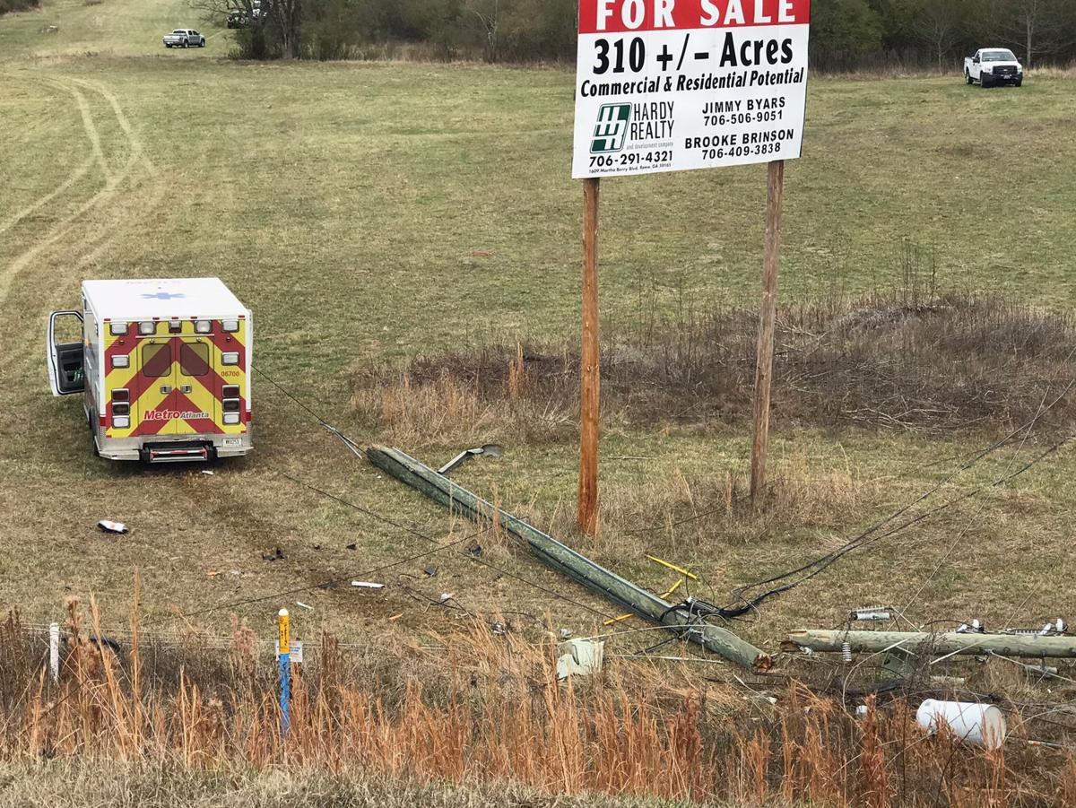Wreck with power pole near U.S. 411 and the loop