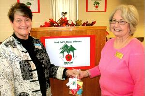 <p>Beverly Moss Birdyshaw (left) is welcomed by Joan Bohannon during a recent meeting of the Floyd-Rome Retired Educators Association. Bohannon is the membership chairwoman. Birdyshaw became the organization's 300th member. (Contributed photo)</p>