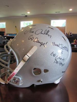 <p>A Cedartown  Bulldogs helmet signed by Mr. Bulldog, Nick Chubb, will be one of the many pieces of memorabilia from around Cedartown that will be decorating the new Jefferson's on North Main Street .</p>