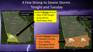Parts of the deep south could see stormy weather Monday