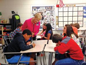 <p>Sandra Deal, the first lady of Georgia, visited LaFayette Middle School on Friday, April 24, to view the students taking part in the Second Step program. (Messenger photo/Josh O'Bryant)</p>