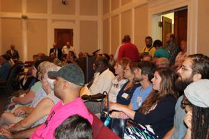 <p>It was standing room only Tuesday night as the Rome City Commission deliberated on extending an agreement with Ledbetter Properties Inc. to develop acreage near the duck pond on Riverside Parkway. (Diane Wagner / RN-T.com)</p>