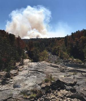 <p>A wildfire has consumed over 100 acres in the Little River Canyon National Preserve in Alabama. (Photo contributed by Jessica Haggard)</p>