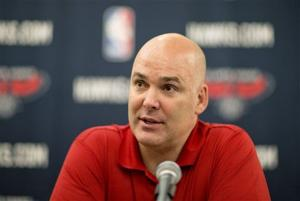 "<p>FILE - In this July 10, 2013, file photo, Atlanta Hawks general manager Danny Ferry speaks at a press conference in Atlanta. Ferry has been disciplined by CEO Steve Koonin for making racially charged comments about Luol Deng when the team pursued the free agent this year. Ferry apologized Tuesday, Sept. 9, 2014, for ""repeating comments that were gathered from numerous sources"" about Deng. (AP Photo/David Goldman, File)</p>"