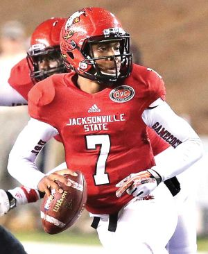 <p>JSU quarterback Eli Jenkins looks for an open receiver last season against Southeast Missouri. He's one of five quarterbacks listed on the Gamecocks' roster for the 2014 season. Photo by Steve Gross, The Anniston Star.</p>