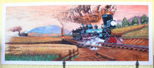 <p>A mural on the side of the Adairsville Depot depicts the Great Locomotive Chase that came through Calhoun in 1862. (Tricia Dillard/Calhoun Times)</p>