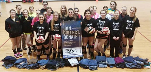 """Set for Life Volleyball Club participates in """"Teens for Jeans"""" charity drive"""