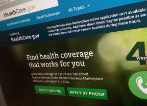 <p>This photo of part of the HealthCare.gov website is photographed in Washington, on Nov. 29, 2013. (AP Photo/Jon Elswick)</p>