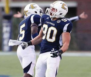 <p>Chattanooga's team made a clean sweep of honors at the Southern Conference Media Day as the team was selected No. 1 by the coaches and media along with Preseason Players of the Year Davis Tull (defense, pictured) and Jacob Huesman (offense). (Photo courtesy: GoMocs.com)</p>