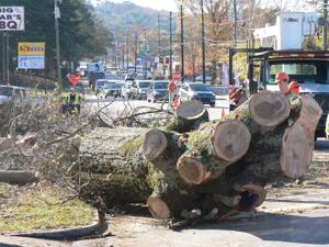 <p>The remains of the trunk of a massive oak tree sits in the northbound lane of Dean Avenue on Wednesday, Nov. 26, 2014. Traffic was restricted to one lane during the morning hours as Rome city crews worked to remove the tree. Rome arborist Terry Paige said one side of the tree was too damaged to leave on the side of the busy state route. (Jeremy Stewart/RN-T.com)</p>