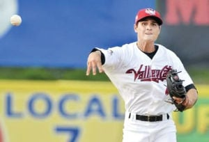 <p>Tri-City Valleycats shortstop and former Calhoun High standout Mott Hyde makes a throw to first during a recent game. (J.S. Carras, The Record)</p>