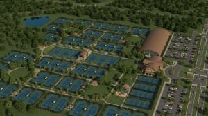 <p>The Tennis Center of Georgia at Berry College was the biggest project greenlighted by the passage of the 2013 SPLOST referendum. Plans are for it to consist of 74 tennis courts on approximately 30 acres of land northeast of Mount Berry Square Mall. (Illustration provided by Max Wave Media)</p>
