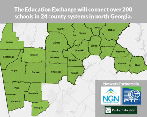 <p>NGN, Parker FiberNet, and ETC Communications launched a partnership today to create the Education Exchange, a fiber optic network to connect schools across North Georgia. (Contributed graphic)</p>
