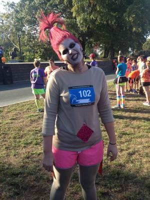 <p>Jamie Harris from Cave Spring is dressed as a zombie troll for the Second Annual Zombiethon 5K and Health Walk at Bridgepoint Plaza on Saturday, Oct. 25, 2014. (Alan Riquelmy/RN-T.com)</p>