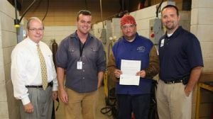 "<p>(From left) GNTC President Pete McDonald, GNTC Welding Instructor Jeremiah Cooper, GNTC Welding student and Grainger Scholarship Winner James Dees, and GNTC Vice President of Student Affairs Stuart Phillips. (Contributed photo)</p><p><span style=""font-family: 'Kabel Bk BT','sans-serif';""> </span></p>"