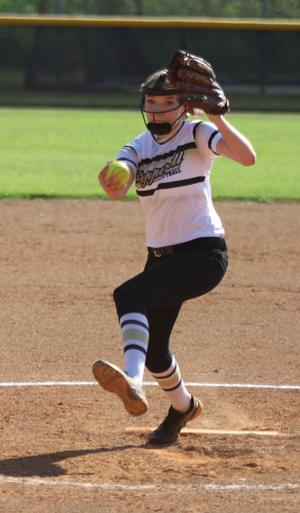 <p>Pepperell pitcher Sydney Edwards delivers to the plate during Pepperell's 12-0 victory against Model on Tuesday, August 30, 2016, in Lindale. (Tommy Romanach/RN-T.com)</p>