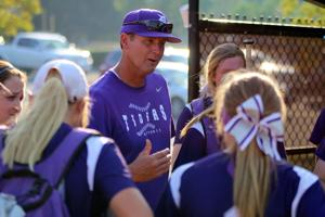 <p>Darlington softball coach Matt Larry talks to his team after a game against Bowdon on Friday, Sept. 23, 2016. Larry was made the interim head coach at the end of August. (Jeremy Stewart/RN-T.com)</p>