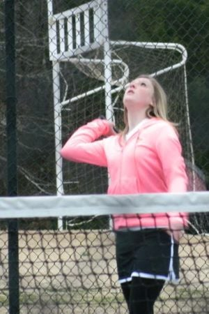 <p>Ramplee Colbert is pictured playing for the Cedartown Middle School Lady Bulldogs tennis team. (Contributed photo)</p>
