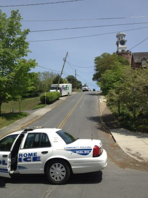 FedEx truck hits power pole on Clocktower Hill