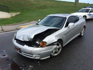 <p>No one was injured after Melonie Huff, of Aragon, rear-ended Floyd County resident Robert Collins near the levee entrance on Saturday, July 30, 2016, according to Rome police officer S. Youngblood. He said Collins was turning left from Second Avenue to Fifth Street and Huff, driving the silver car pictured, didn't stop in time. No citations were written. (Blake Doss / RN-T)</p>