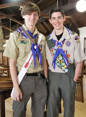 <p>Troop 1902 Boy Scouts Logan Tolbert (left) and Jarred Jones recently earned the Eagle Scout rank. (Photo contributed by Charlotte Jones)</p>