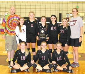 <p>The Sand Rock Lady Wildcats earned their sixth Cherokee County Volleyball Tournament championship on Saturday. They defeated Cedar Bluff in the championship match. Sitting from left is Madelyn Chambers, August Gilliland and Kynleigh Chesnut. Standing from left is assistant coach Johnny Howell, Paige Norris, Haylie Pruitt, Audrey Richardson, Savannah Blackwell, Erin Langley and head coach Lisa Bates. Photo by Shannon Fagan.</p>