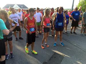 <p>Runners prepare for the starting countdown at the fourth annual Tumor Trooper Run and Walk at the Richard B. Russell Regional Airport on Saturday, July 30, 2016. (Blake Doss / RN-T)</p>