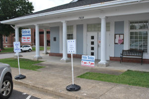 <p>The Ringgold voting precinct is at Catoosa Hall. It is one of a dozen precincts across the county where voters are casting ballots today in the primary runoffs. (Catoosa News photo/Adam Cook)</p>