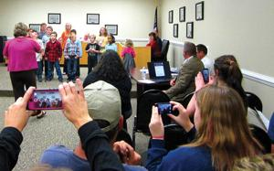 <p>Naomi Elementary School's chorus gives a sneak preview of its Christmas performance at the Walker County Board of Education's Oct. 20 meeting. (Catoosa News photo/Natasha Colbaugh)</p>