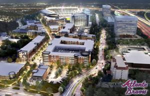 <p>This artist rendering released Wednesday, Dec. 10, 2014 by the Atlanta Braves shows planned mixed use development around their new stadium under construction in Cobb County north of Atlanta. (AP Photo/Atlanta Braves)</p>